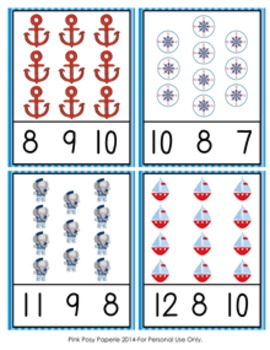 Nautical Count and Clip Cards Numbers 1-12
