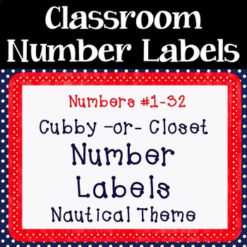 Nautical Cubby or Closet Number Labels