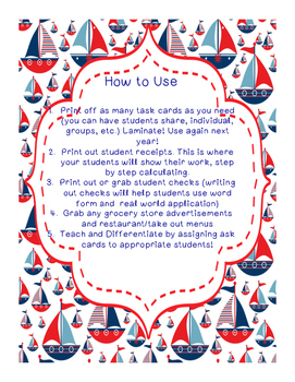 Nautical Decimal Task Cards