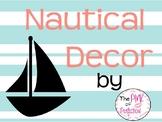 Nautical Decor--Mint & Coral--Editable