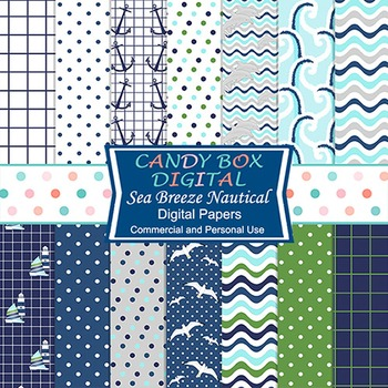 Nautical, Ocean, Water, Waves Digital Background Papers