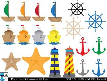 Nautical Digital Clip Art Graphics 53 images cod33