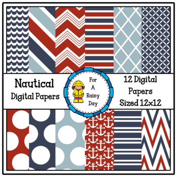 Nautical Digital Paper (Red & Blue)