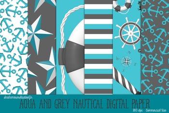 Nautical Digital Paper, Aqua and Grey Commercial Use Scrap