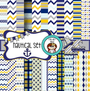 Nautical Digital Paper, Clipart, Frames and Borders