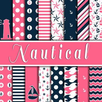 Nautical Digital Paper Pack - Pink and Blue - 16 Different Papers - 12inx12in