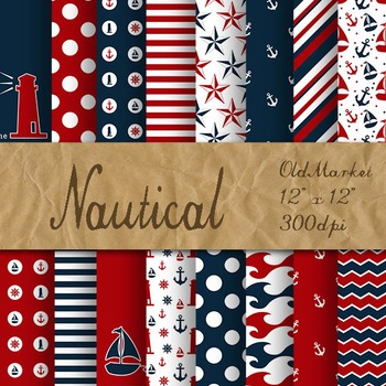 Nautical Digital Paper Pack - Red and Blue - 16 Different Papers - 12inx12in
