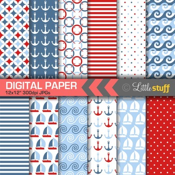 Nautical Digital Paper, Sailing Backgrounds, Red Blue and White