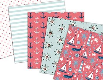 Nautical Digital Paper Sailing Scrapbook Paper sea sailboat lighthouse anchor
