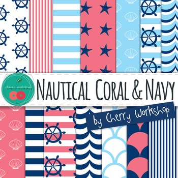 Nautical Digital Paper - Summer Digital Paper Digital Backgrounds
