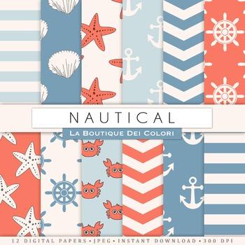 Nautical Digital Paper, scrapbook backgrounds