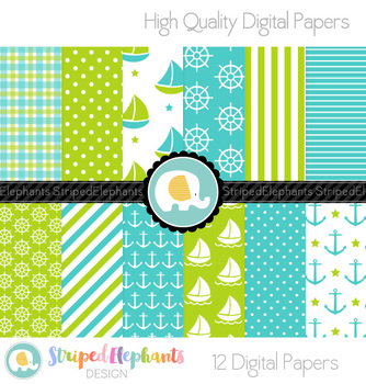 Nautical Digital Papers - Blue and Lime