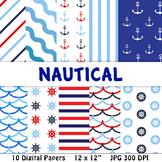 Nautical Digital Papers   Ocean, Sea, Sailing, Boat, Ship, Water, Anchor, Summer