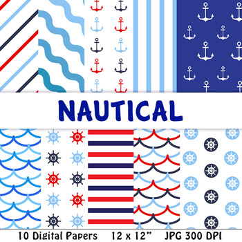 Nautical Digital Papers | Ocean, Sea, Sailing, Boat, Ship, Water, Anchor, Summer