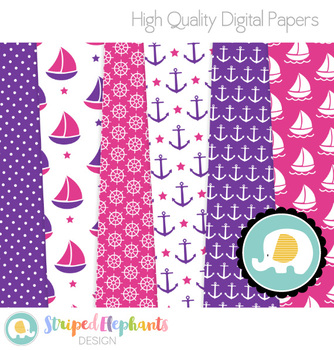 Nautical Digital Papers - Pink and Purple