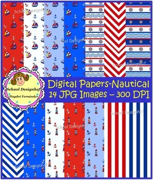Nautical Digital Papers - Set Blue & Red (School Designhcf)