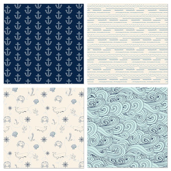 Nautical Digital Papers, Water Waves, Stripes, Anchors, Patterned Backgrounds