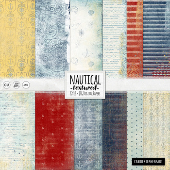 Nautical Digital Papers - Water Waves - Stripes - Anchors