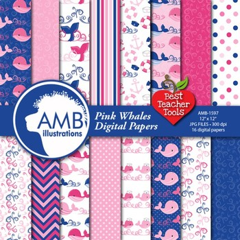 Nautical Digital Papers, Whales Papers and Backgrounds in Pinks AMB-1597