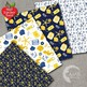 Nautical Digital Papers in Gold and Blue Patterns and Backgrounds AMB-1954