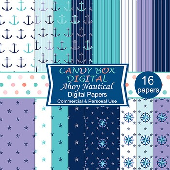 Nautical Digital Papers w/ Anchors and Mariners Compass