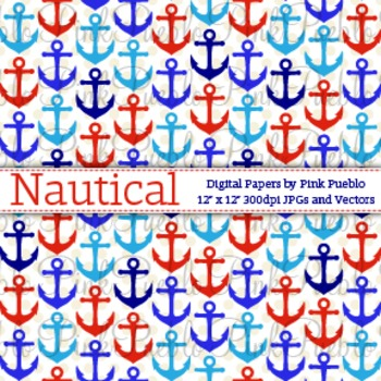 Nautical Digital Scrapbook Papers or Backgrounds