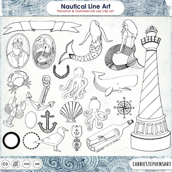 Nautical Digital Stamps - Outlines & Brushes - Sea Creatures, Whale, Mermaid