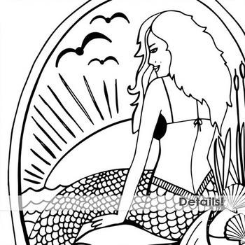 Nautical Line Art Illustration, Black Outlines, Sea Creatures, Whale, Mermaid