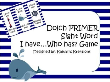 Nautical Dolch PRIMER I have Who has Game