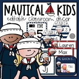 Nautical EDITABLE Classroom Decor Bundle with Melonheadz Kidlettes