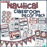 Nautical Editable Classroom Decor Pack