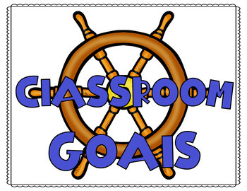 Nautical  Theme Classroom Goal Editable Posters and Student Stick Toppers