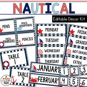 Nautical: Editable Classroom Signs & Labels