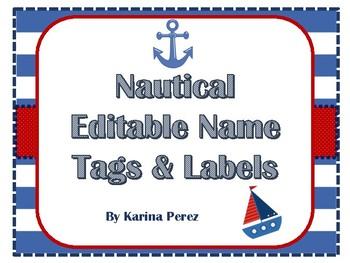 Nautical Theme Editable Name Tags Labels FREE Template Printables