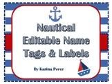 Nautical Theme Editable Name Tags & Labels FREE Template P