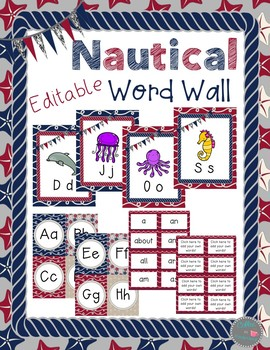 Nautical Editable Word Wall