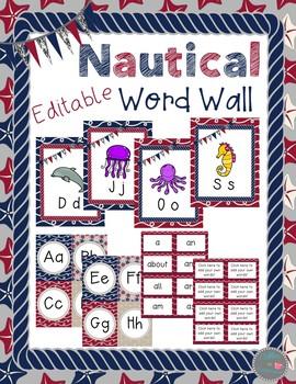 Nautical Editable Word Wall
