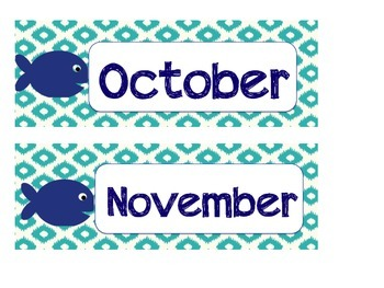 Nautical Fish Months & Coordinating Numbers