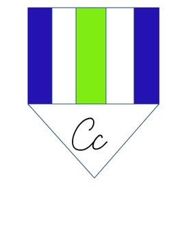Nautical Flags Cursive Pennants (Blue and Green)