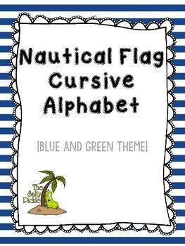 Nautical Flags Cursive Pennants (Blue and Green)