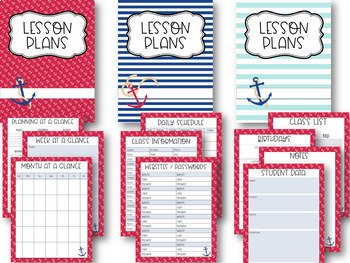 Nautical Fun Editable Teacher Binder / Lesson Planner 2017-2018-Free Updates
