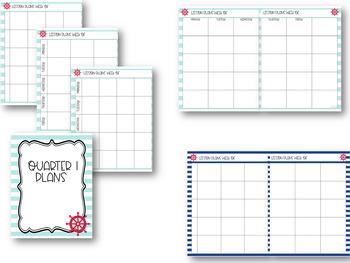 Nautical Fun Editable Teacher Binder / Lesson Planner 2018-2019-Free Updates