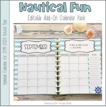 Nautical Fun Lesson Planner / Binder Calendar Add-On Pack