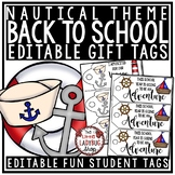 Nautical Theme Gift Tags Back to School & Welcome Note for Students EDITABLE