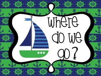 Nautical Green/Navy Where Do We go/Where Are we?
