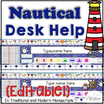 Editable Nautical Desk Help Name tags