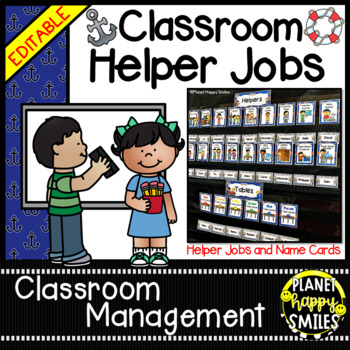 Classroom Helper Jobs (EDITABLE) ~ Nautical Theme