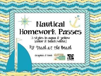 Nautical Homework Passes - Aqua and Yellow