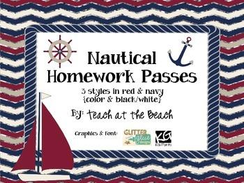 Nautical Homework Passes - Navy and Red