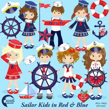 Nautical Clipart, Sailor Clipart in Red and Blue, {Best Teacher Tools} AMB-893